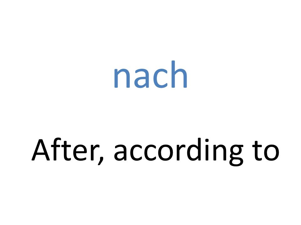nach After, according to