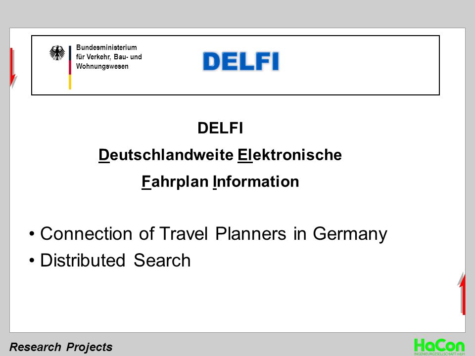 Research Projects Bundesministerium für Verkehr, Bau- und Wohnungswesen DELFI Deutschlandweite Elektronische Fahrplan Information Connection of Travel Planners in Germany Distributed Search