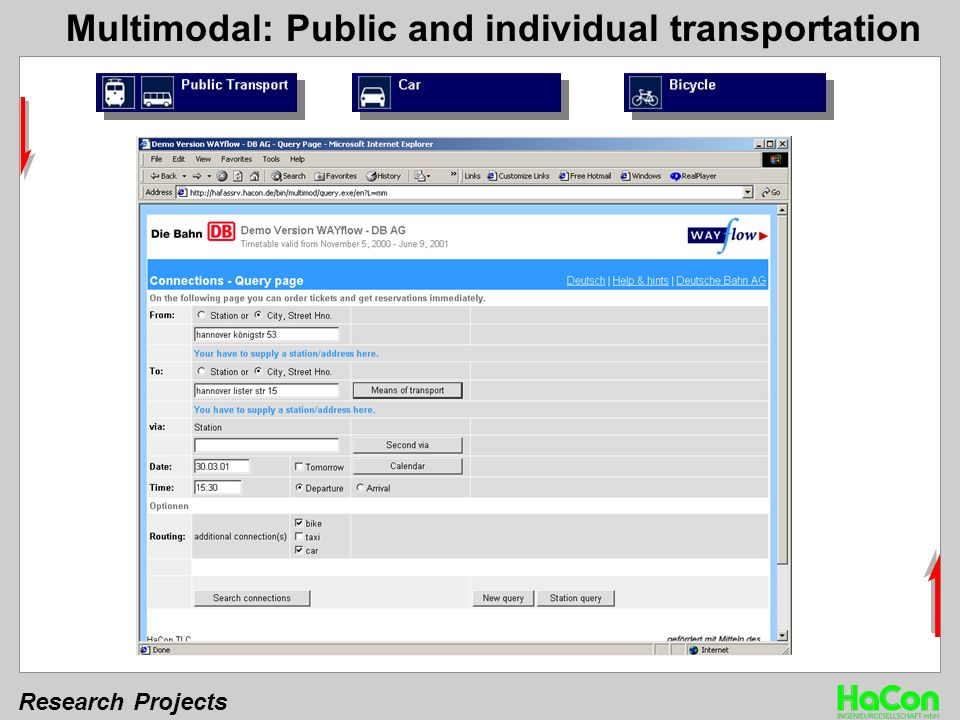 Research Projects Multimodal: Public and individual transportation