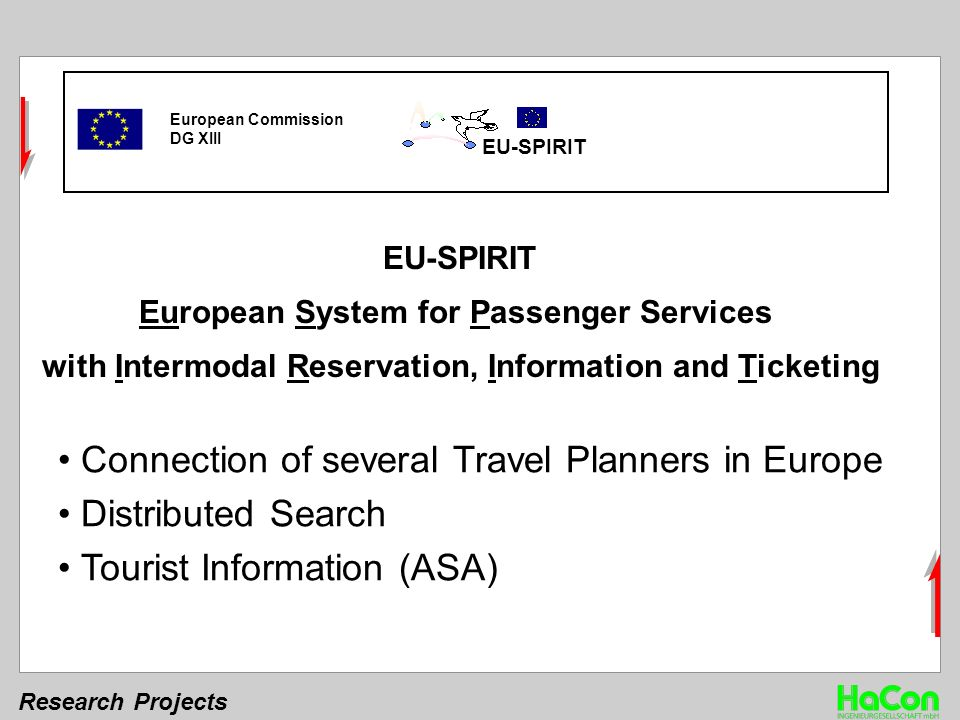 Research Projects European Commission DG XIII EU-SPIRIT European System for Passenger Services with Intermodal Reservation, Information and Ticketing Connection of several Travel Planners in Europe Distributed Search Tourist Information (ASA)