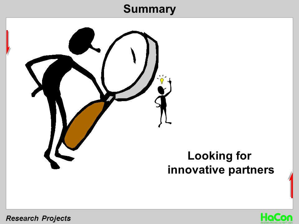 Research Projects Summary Looking for innovative partners