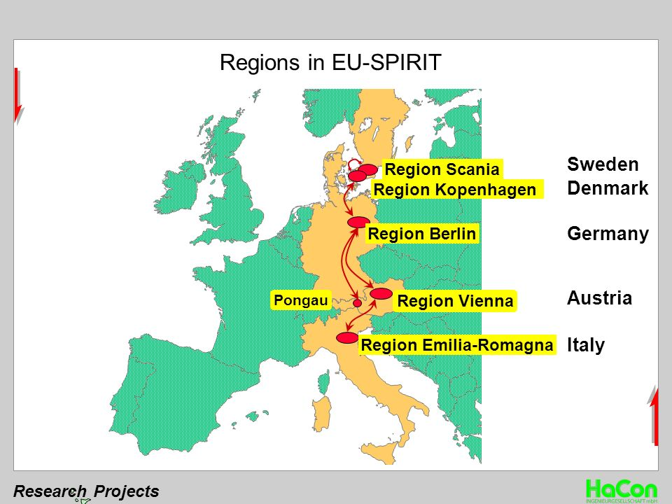 Research Projects Denmark Sweden Germany Austria Italy Region Berlin Region Scania Region Kopenhagen Pongau Region Vienna Region Emilia-Romagna Regions in EU-SPIRIT