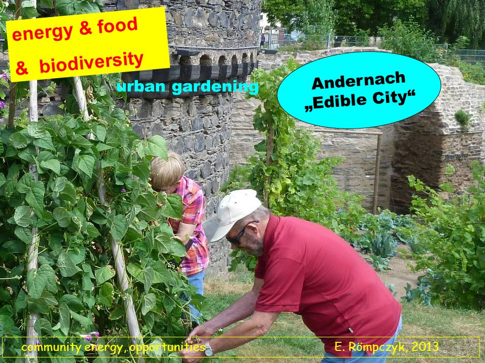 energy & food & biodiversity urban gardening Andernach Edible City community energy, opportunities E. Römpczyk, 2013