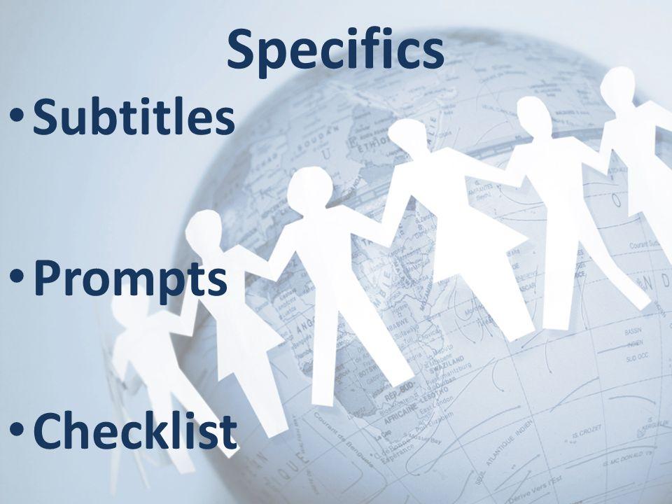 Subtitles Prompts Checklist