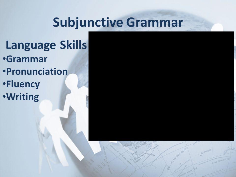 Subjunctive Grammar Language Skills Grammar Pronunciation Fluency Writing
