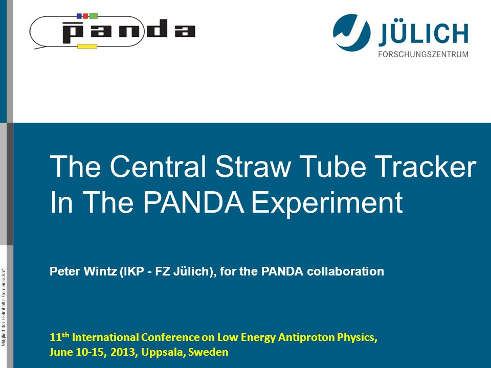 Mitglied der Helmholtz-Gemeinschaft The Central Straw Tube Tracker In The PANDA Experiment Peter Wintz (IKP - FZ Jülich), for the PANDA collaboration
