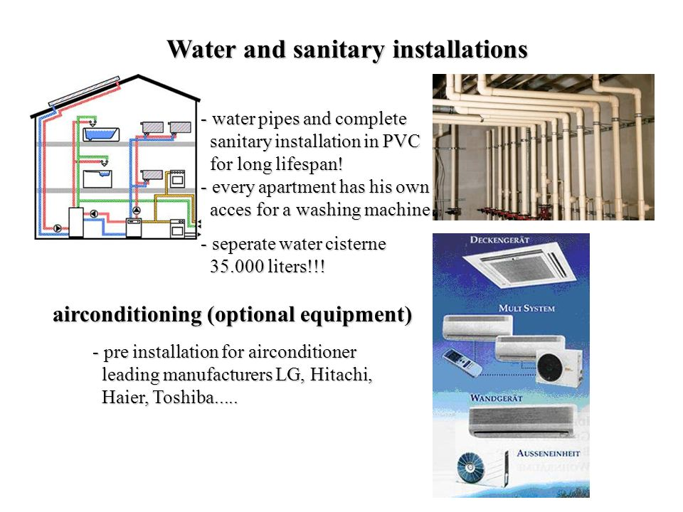 Water and sanitary installations - p- p- p- pre installation for airconditioner leading manufacturers LG, Hitachi, Haier, Toshiba.....