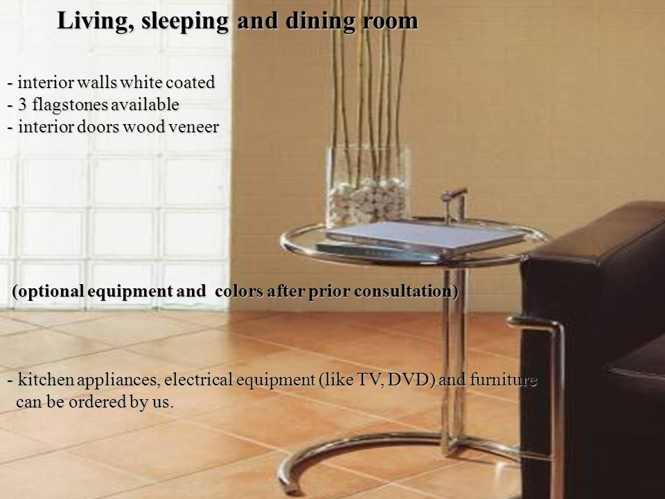 Living, sleeping and dining room - interior walls white coated - 3- 3- 3- 3 flagstones available - i- i- i- interior doors wood veneer (optional equipment and colors after prior consultation) - k- k- k- kitchen appliances, electrical equipment (like TV, DVD) and furniture can be ordered by us.