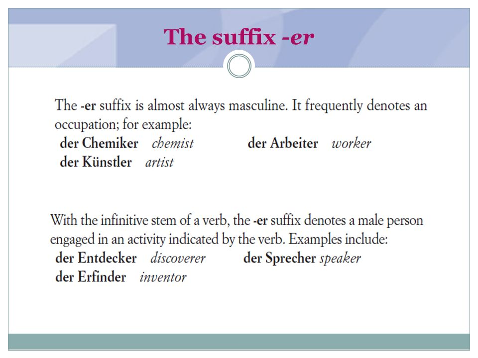 The suffix -er