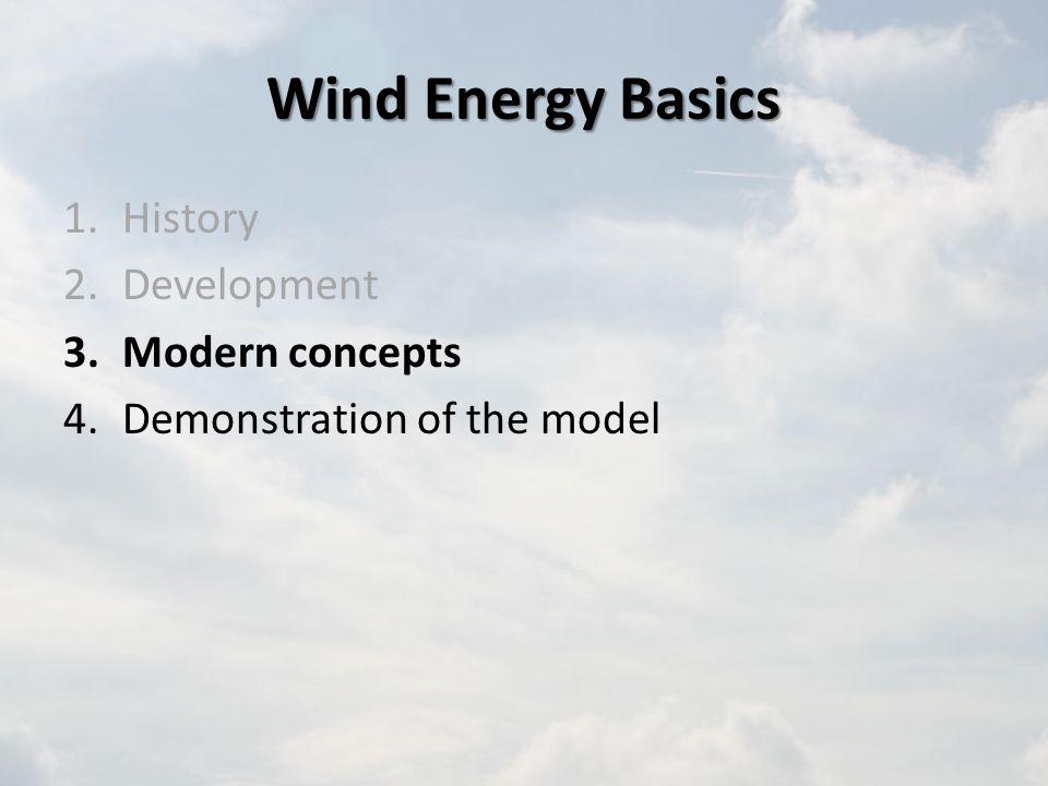 Wind Energy Basics 1.History 2.Development 3.Modern concepts 4.Demonstration of the model
