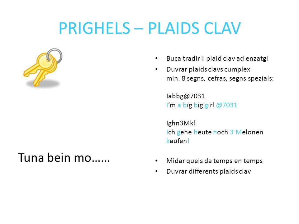 PRIGHELS – PLAIDS CLAV Tuna bein mo…… Buca tradir il plaid clav ad enzatgi Duvrar plaids clavs cumplex min.