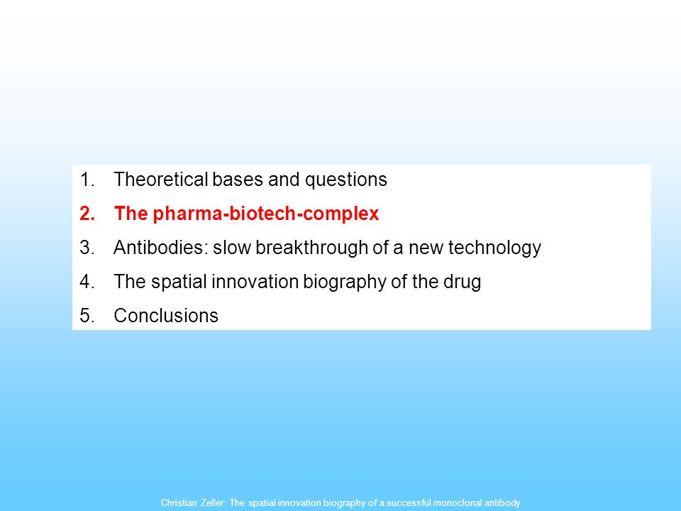 Christian Zeller: The spatial innovation biography of a successful monoclonal antibody 1.Theoretical bases and questions 2.The pharma-biotech-complex 3.Antibodies: slow breakthrough of a new technology 4.The spatial innovation biography of the drug 5.Conclusions