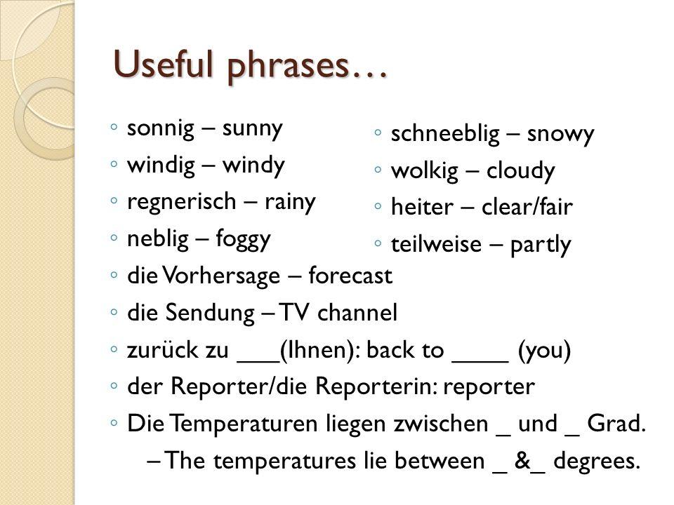 Useful phrases… sonnig – sunny windig – windy regnerisch – rainy neblig – foggy die Vorhersage – forecast die Sendung – TV channel zurück zu ___(Ihnen): back to ____ (you) der Reporter/die Reporterin: reporter Die Temperaturen liegen zwischen _ und _ Grad.
