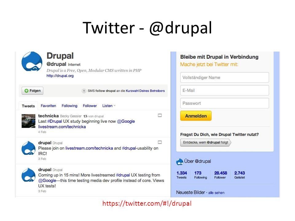 Twitter - @drupal https://twitter.com/#!/drupal RSS Feed Aggregator für Drupal News