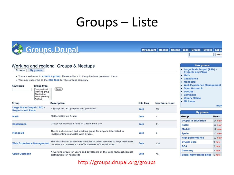 Groups – Liste http://groups.drupal.org/groups