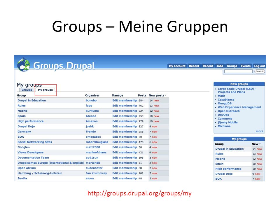 Groups – Meine Gruppen http://groups.drupal.org/groups/my