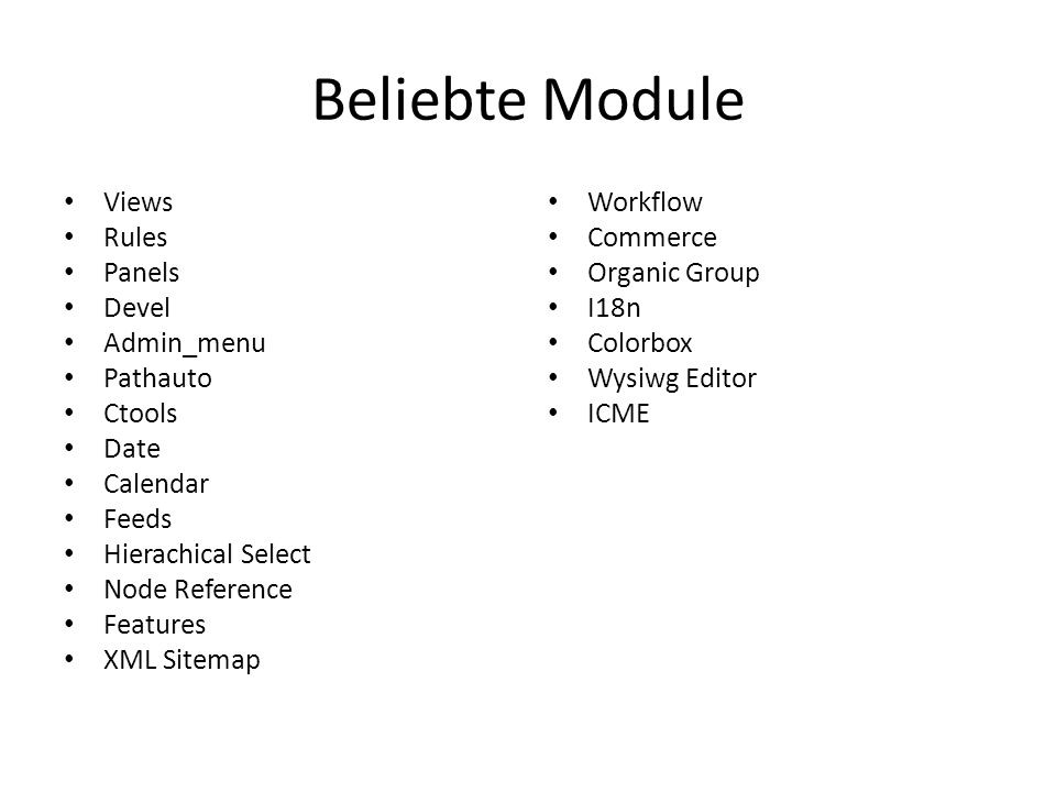 Beliebte Module Views Rules Panels Devel Admin_menu Pathauto Ctools Date Calendar Feeds Hierachical Select Node Reference Features XML Sitemap Workflow Commerce Organic Group I18n Colorbox Wysiwg Editor ICME