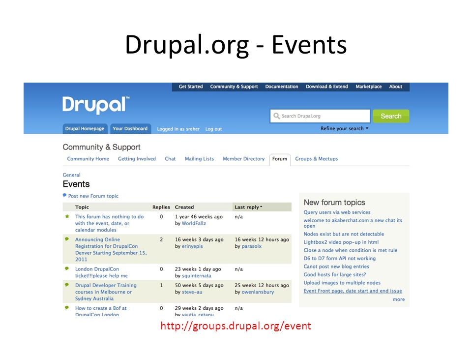 Drupal.org - Events http://groups.drupal.org/event