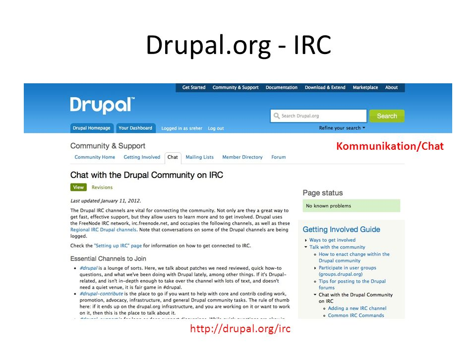 Drupal.org - IRC http://drupal.org/irc Kommunikation/Chat