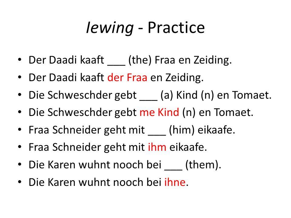 Iewing - Practice Der Daadi kaaft ___ (the) Fraa en Zeiding.