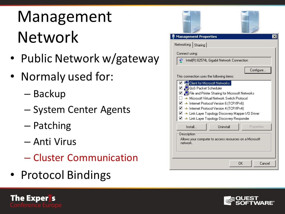 Management Network Public Network w/gateway Normaly used for: – Backup – System Center Agents – Patching – Anti Virus – Cluster Communication Protocol