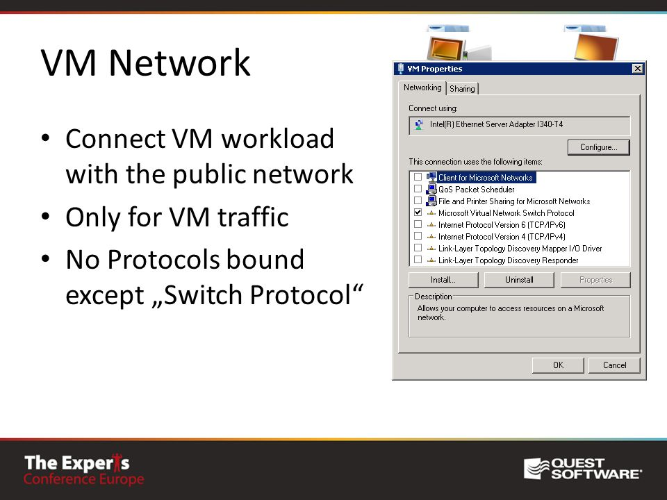 VM Network Connect VM workload with the public network Only for VM traffic No Protocols bound except Switch Protocol