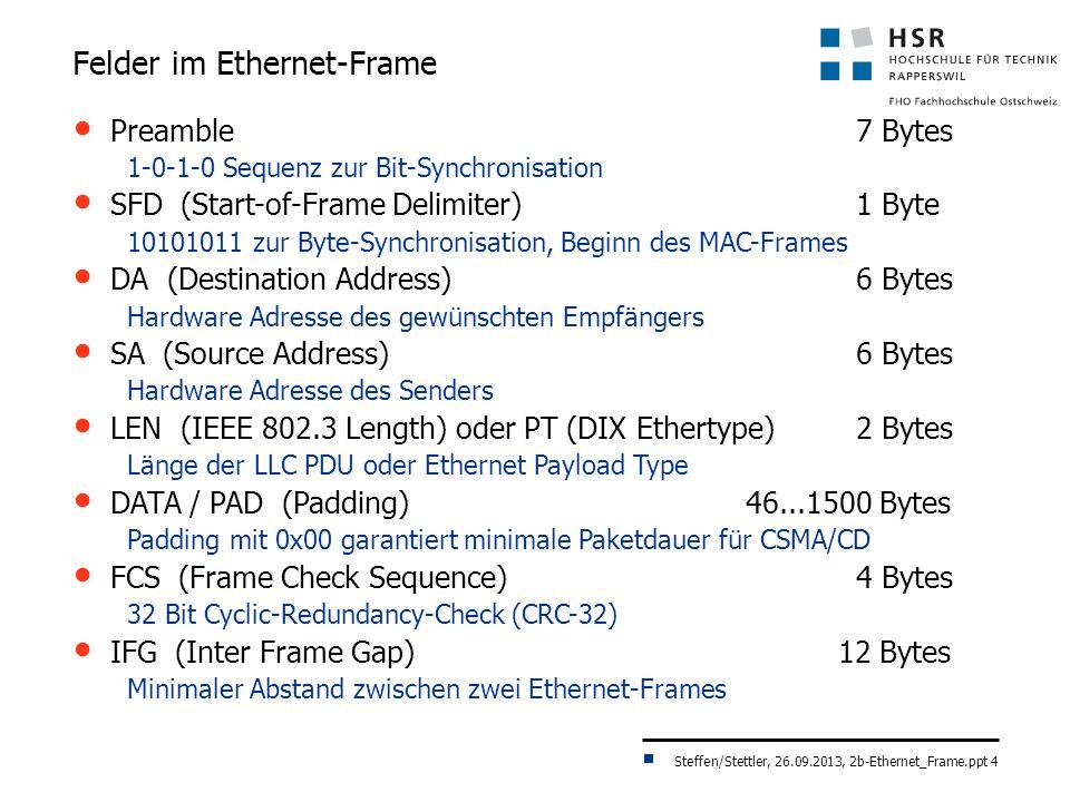 Steffen/Stettler, 26.09.2013, 2b-Ethernet_Frame.ppt 4 Felder im Ethernet-Frame Preamble 7 Bytes 1-0-1-0 Sequenz zur Bit-Synchronisation SFD (Start-of-Frame Delimiter) 1 Byte 10101011 zur Byte-Synchronisation, Beginn des MAC-Frames DA (Destination Address) 6 Bytes Hardware Adresse des gewünschten Empfängers SA (Source Address) 6 Bytes Hardware Adresse des Senders LEN (IEEE 802.3 Length) oder PT (DIX Ethertype) 2 Bytes Länge der LLC PDU oder Ethernet Payload Type DATA / PAD (Padding) 46...1500 Bytes Padding mit 0x00 garantiert minimale Paketdauer für CSMA/CD FCS (Frame Check Sequence) 4 Bytes 32 Bit Cyclic-Redundancy-Check (CRC-32) IFG (Inter Frame Gap) 12 Bytes Minimaler Abstand zwischen zwei Ethernet-Frames