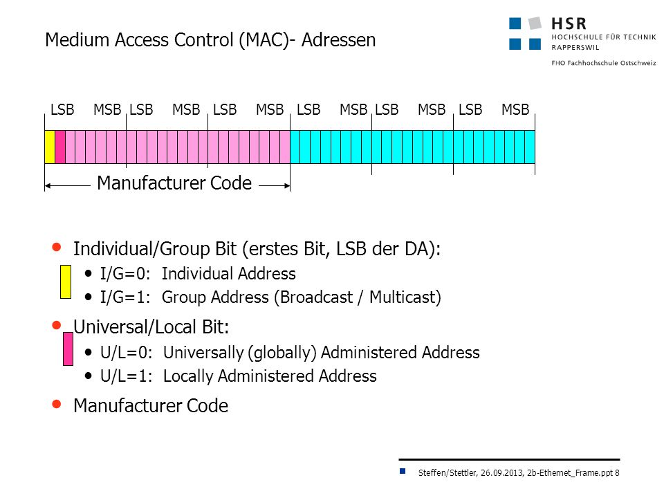 Steffen/Stettler, 26.09.2013, 2b-Ethernet_Frame.ppt 8 Medium Access Control (MAC)- Adressen Individual/Group Bit (erstes Bit, LSB der DA): I/G=0: Individual Address I/G=1: Group Address (Broadcast / Multicast) Universal/Local Bit: U/L=0: Universally (globally) Administered Address U/L=1: Locally Administered Address Manufacturer Code LSB MSB
