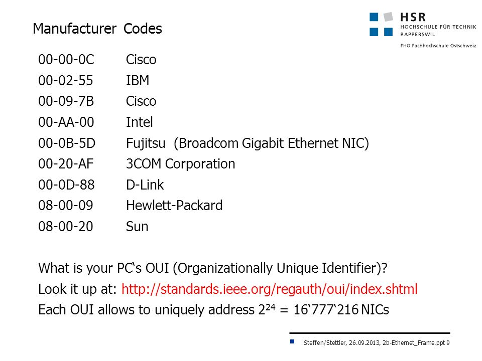 Steffen/Stettler, 26.09.2013, 2b-Ethernet_Frame.ppt 9 Manufacturer Codes 00-00-0CCisco 00-02-55IBM 00-09-7BCisco 00-AA-00Intel 00-0B-5DFujitsu (Broadcom Gigabit Ethernet NIC) 00-20-AF 3COM Corporation 00-0D-88 D-Link 08-00-09Hewlett-Packard 08-00-20 Sun What is your PCs OUI (Organizationally Unique Identifier).