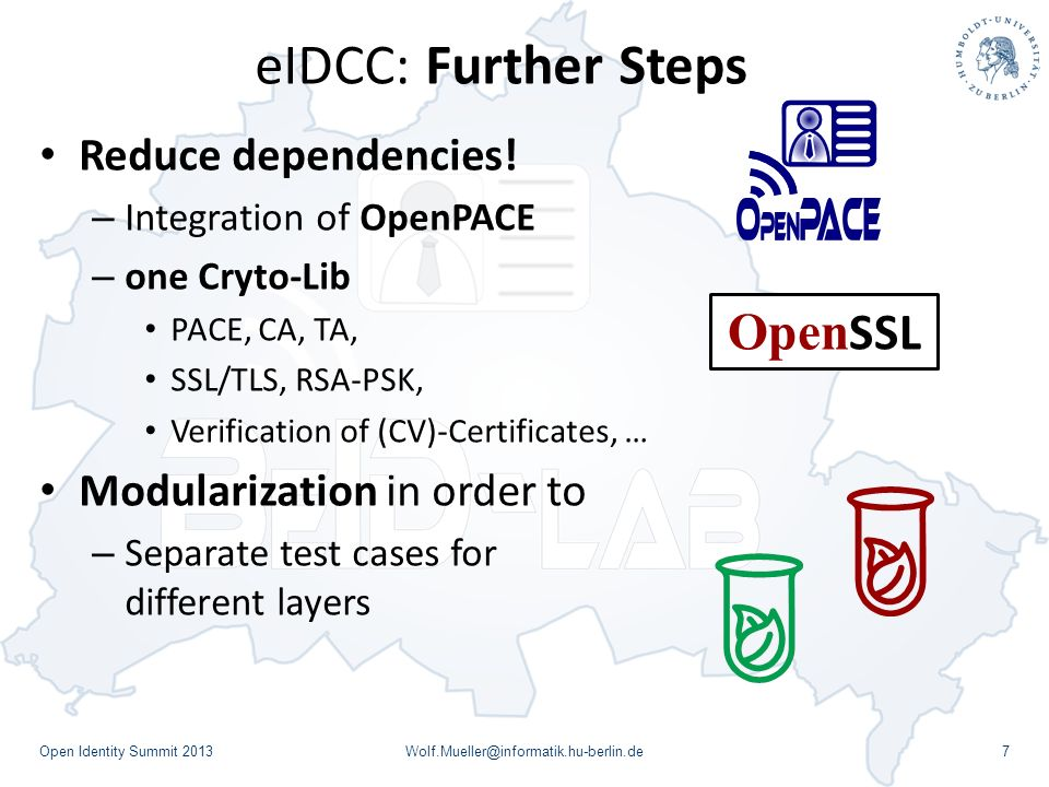 eIDCC: Further Steps Open Identity Summit 2013Wolf.Mueller@informatik.hu-berlin.de7 Reduce dependencies! – Integration of OpenPACE – one Cryto-Lib PAC