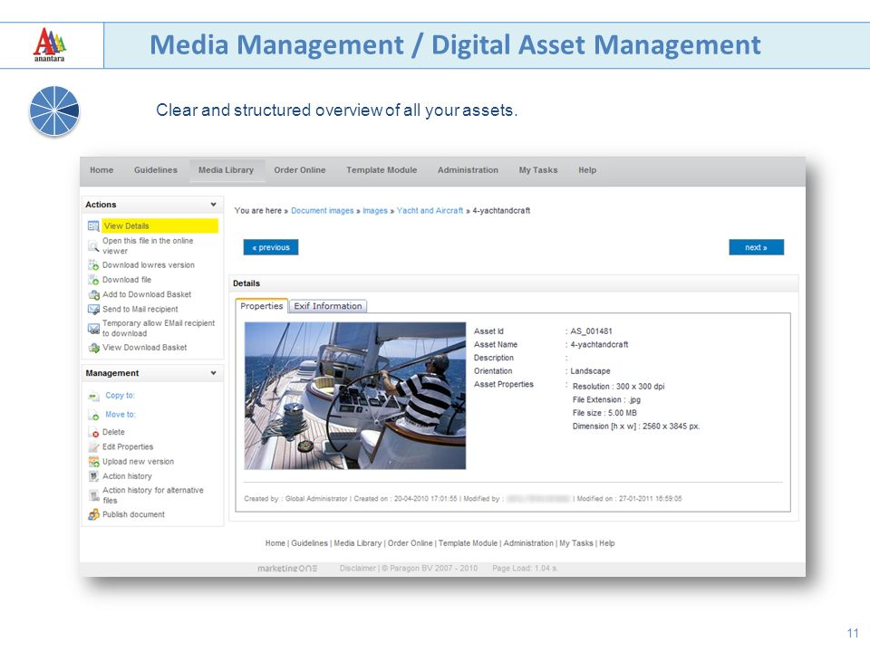 11 Media Management / Digital Asset Management Clear and structured overview of all your assets.