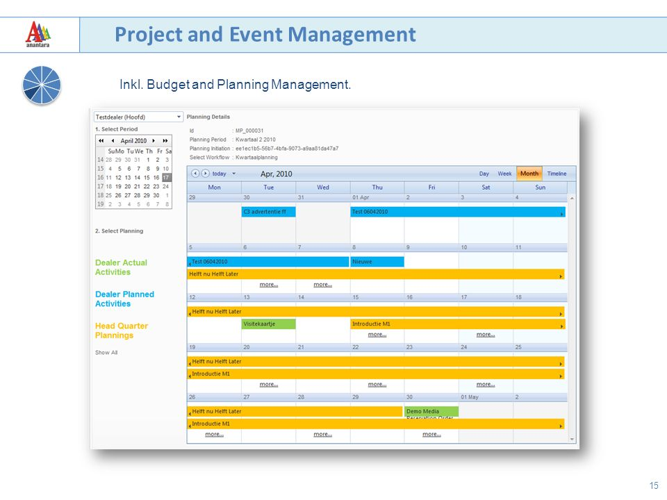15 Project and Event Management Inkl. Budget and Planning Management.
