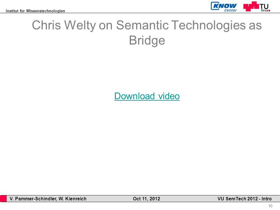 Institut für Wissenstechnologien 10 V. Pammer-Schindler, W. Kienreich Oct 11, 2012 VU SemTech 2012 - Intro Chris Welty on Semantic Technologies as Bri