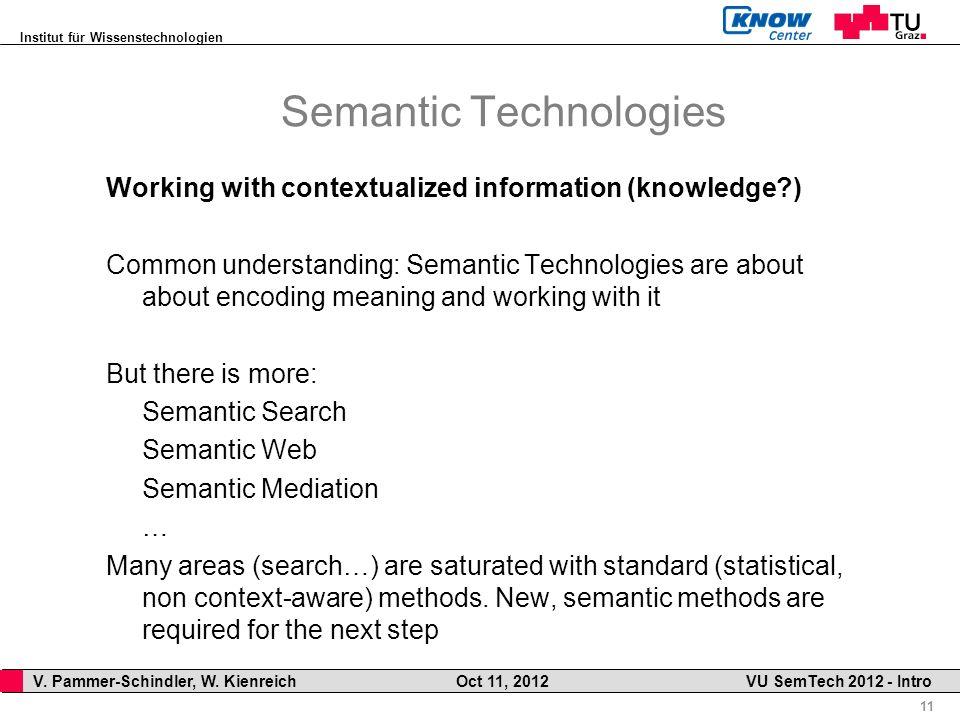 Institut für Wissenstechnologien 11 V. Pammer-Schindler, W. Kienreich Oct 11, 2012 VU SemTech 2012 - Intro Semantic Technologies Working with contextu