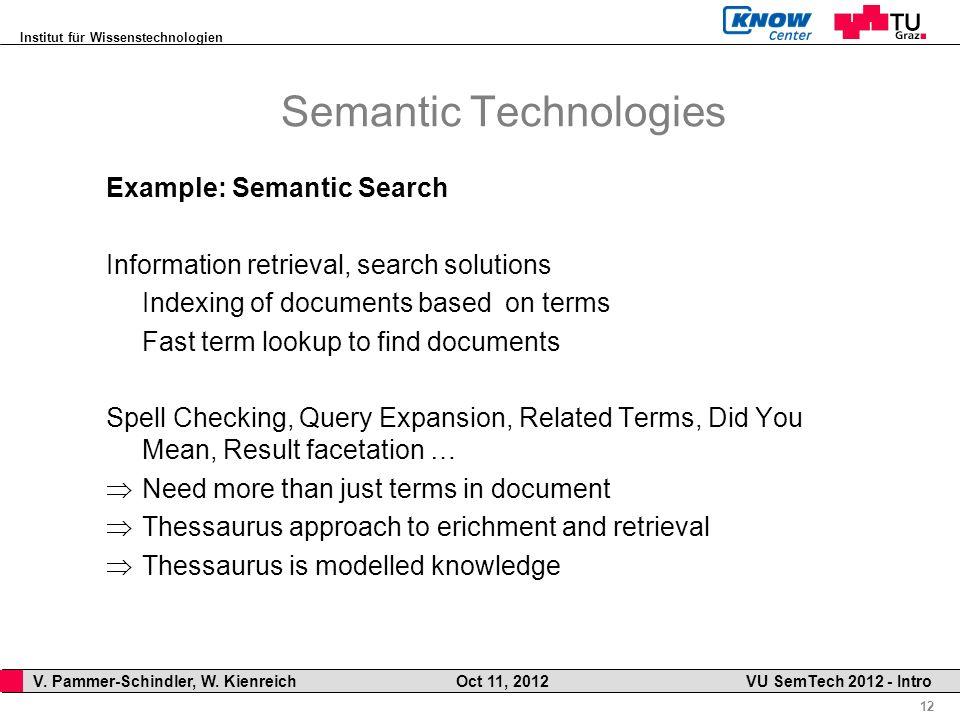 Institut für Wissenstechnologien 12 V. Pammer-Schindler, W. Kienreich Oct 11, 2012 VU SemTech 2012 - Intro Semantic Technologies Example: Semantic Sea