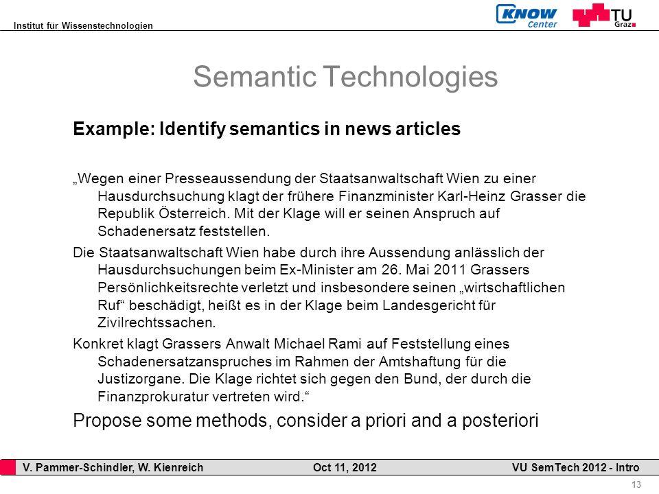 Institut für Wissenstechnologien 13 V. Pammer-Schindler, W. Kienreich Oct 11, 2012 VU SemTech 2012 - Intro Semantic Technologies Example: Identify sem