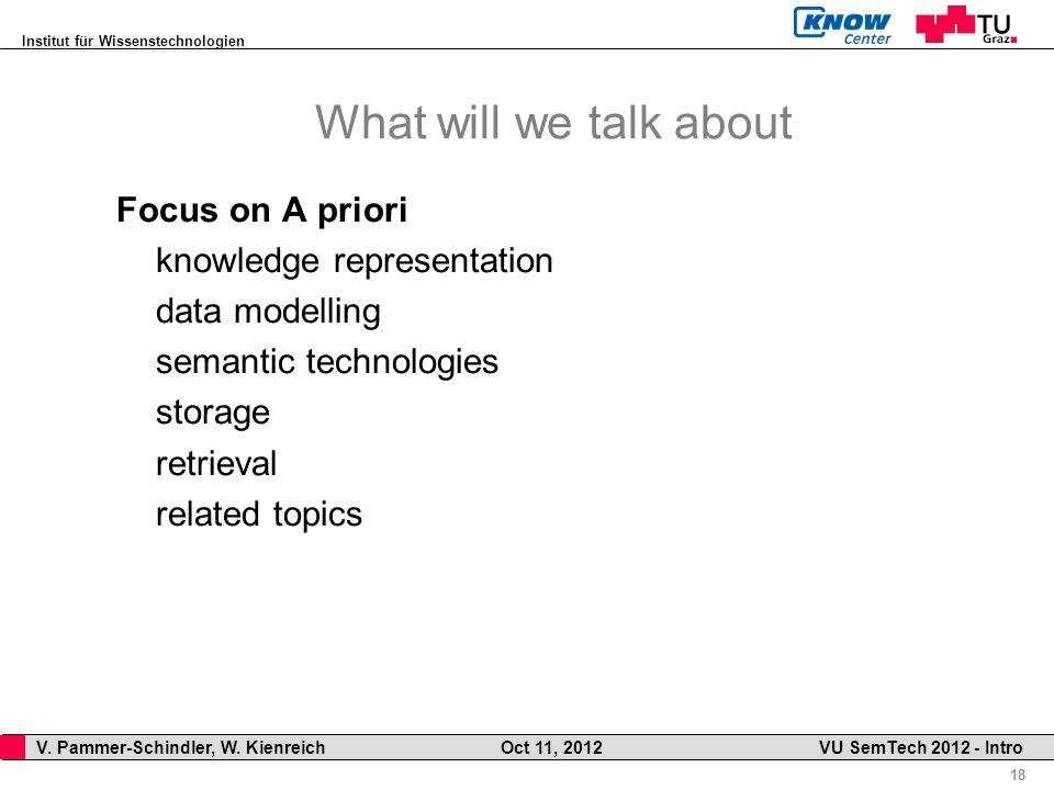 Institut für Wissenstechnologien 18 V. Pammer-Schindler, W. Kienreich Oct 11, 2012 VU SemTech 2012 - Intro What will we talk about Focus on A priori k