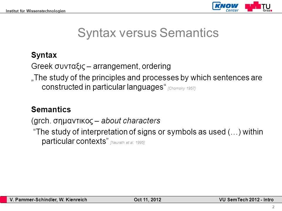 Institut für Wissenstechnologien 2 V. Pammer-Schindler, W. Kienreich Oct 11, 2012 VU SemTech 2012 - Intro Syntax versus Semantics Syntax Greek συνταξι