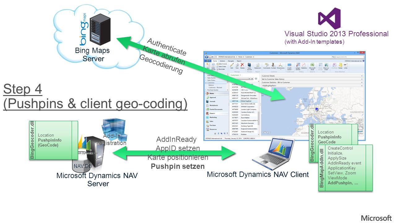 NAV DB Add-In registration Visual Studio 2013 Professional (with Add-In templates) Authenticate Karte abrufen Geocodierung Step 4 (Pushpins & client g