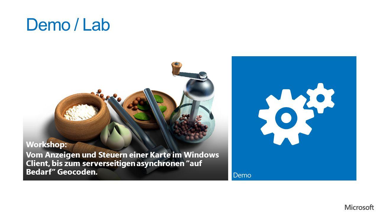 Demo / Lab Workshop: Vom Anzeigen und Steuern einer Karte im Windows Client, bis zum serverseitigen asynchronen auf Bedarf Geocoden.