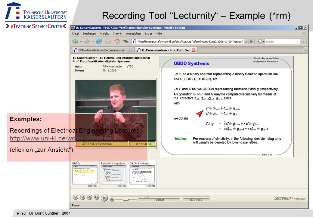 Recording Tool Lecturnity – Example (*rm) eTSC - Dr.