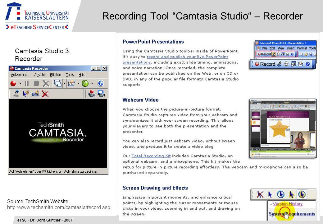 Recording Tool Camtasia Studio – Recorder eTSC - Dr.