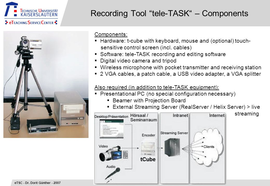 Recording Tool tele-TASK – Components eTSC - Dr.