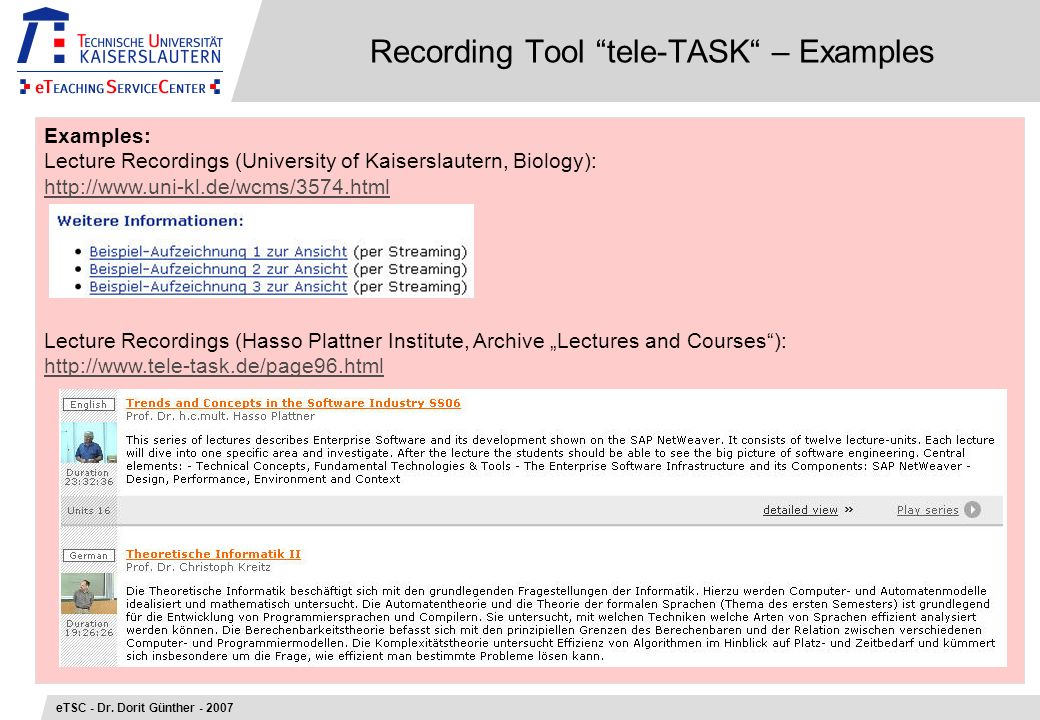 Recording Tool tele-TASK – Examples eTSC - Dr.