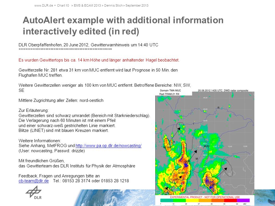 AutoAlert example with additional information interactively edited (in red) www.DLR.de Chart 10> EMS & ECAM 2013 > Dennis Stich > September 2013 DLR O