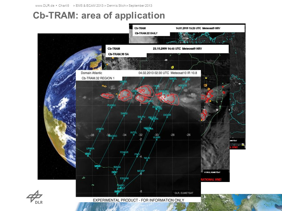 Rad-TRAM - Radar Tracking and Monitoring Black contours: areas > 37 dBZ Dotted contours: 60 min nowcast Tracking and nowcasting based on pyramidal matching like in Cb-TRAM Available every 5th minute Based on DWD radar data: RX and EURADCOM > EMS & ECAM 2013 > Dennis Stich > September 2013www.DLR.de Chart 7