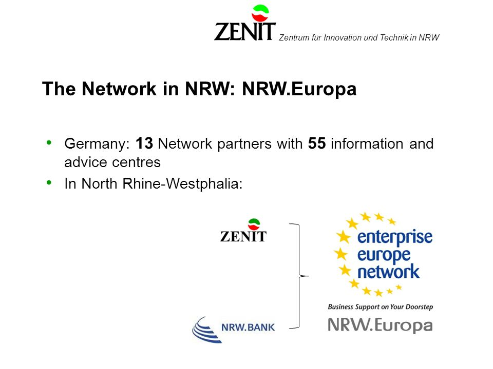 Zentrum für Innovation und Technik in NRW The Network in NRW: NRW.Europa Germany: 13 Network partners with 55 information and advice centres In North Rhine-Westphalia:
