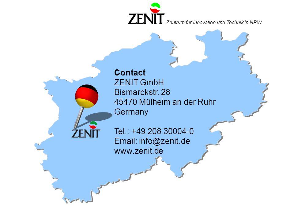 Zentrum für Innovation und Technik in NRW Contact ZENIT GmbH Bismarckstr.