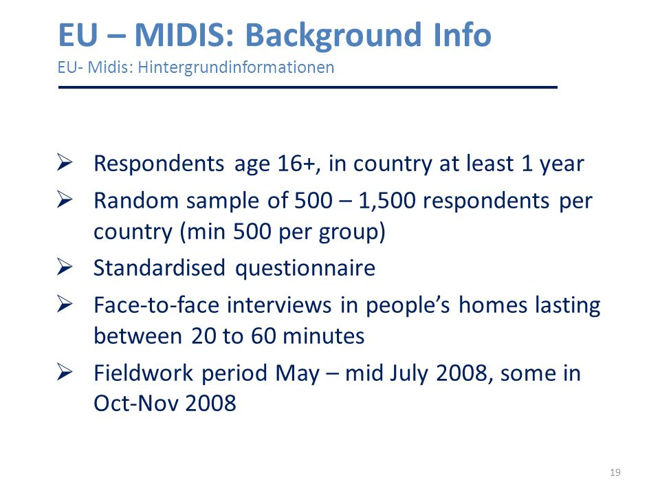 19 EU – MIDIS: Background Info EU- Midis: Hintergrundinformationen Respondents age 16+, in country at least 1 year Random sample of 500 – 1,500 respondents per country (min 500 per group) Standardised questionnaire Face-to-face interviews in peoples homes lasting between 20 to 60 minutes Fieldwork period May – mid July 2008, some in Oct-Nov 2008