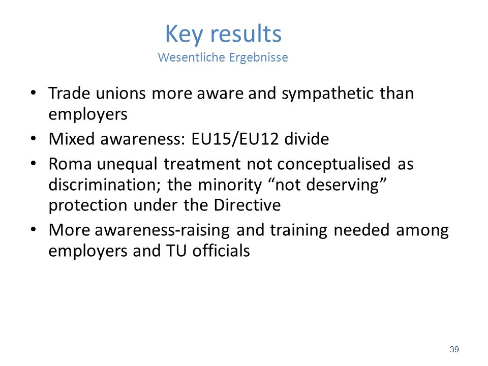 39 Key results Wesentliche Ergebnisse Trade unions more aware and sympathetic than employers Mixed awareness: EU15/EU12 divide Roma unequal treatment not conceptualised as discrimination; the minority not deserving protection under the Directive More awareness-raising and training needed among employers and TU officials